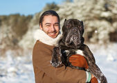 Man and dog friendship forever — Stock Photo