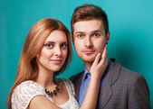 Portrait of young couple in love. Stodio shot — Stock Photo