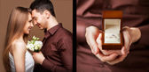 Man giving an engagement  box with ring — Stock Photo
