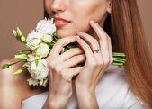 Beautiful Spa Woman Touching her Face. — Stock Photo