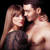 Vackra sexiga intima par krama varandra — Stockfoto