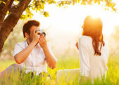Couple in love on the nature photographed  — Stock Photo