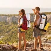 Hikers - people hiking, man looking at mountain nature landscape — Stock Photo
