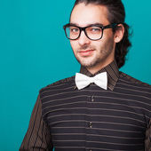 Hipster style guy in studio — Stock Photo