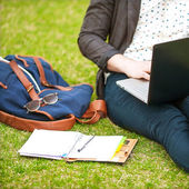 Young man using his laptop on the grass and makes notes in a not — Foto Stock