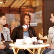 Two young hipster guy sitting in a cafe — Stock Photo