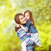 Mother and daughter enjoy the early spring. Mother day. — Stock Photo