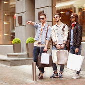 Three Young men fashion — Stock Photo