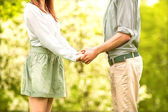 Young couple in love walking in the park — Stock Photo
