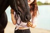 Cavallo e donna bella — Foto Stock