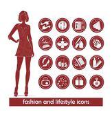 Fashion accessory icons set — Stock Photo
