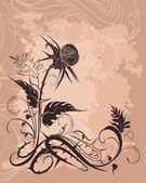 Vintage background with thistle — Stock Vector