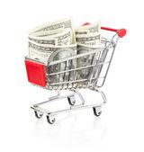 Dinero en carrito de compras — Foto de Stock