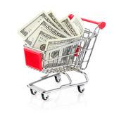 Alışveriş sepeti içinde para — Stok fotoğraf