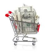 Money in Shopping Cart — Stock Photo