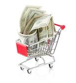 деньги в корзину — Стоковое фото