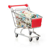 Shopping Cart Filled with Capsules — Stock Photo