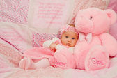 Baby Girl on Pink Blanket — Stock Photo