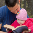 Dad and Baby Daughter Reading Bible — Foto de stock #25015723
