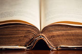 Open Old Holy Bible Close Up — Stock Photo