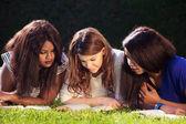 Three University Friends Studying — Stock Photo