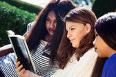 Three Girls Studying the Bible Together — Stock Photo