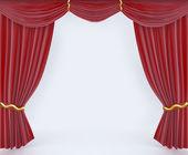 红色窗帘面料背景纹理 — 图库照片
