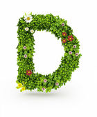 Green Grass Letter D — Stock Photo