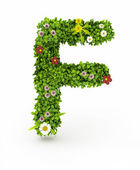 Green Grass Letter F — Stock Photo