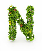 Green Grass Letter N — Stock Photo