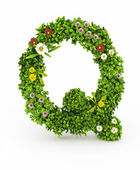 Green Grass Letter Q — Stock Photo