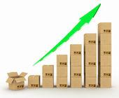 Diagram rostoucí vývoz. — Stock fotografie