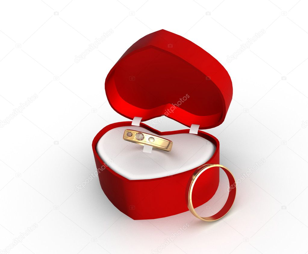 Wedding Gift Deposit Box : Wedding ring in a gift box with a white backgroundStock Photo ...