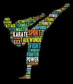 Karate afbeeldingen op zwarte achtergrond — Stockfoto