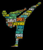 Karate graphics on black background — Stok fotoğraf