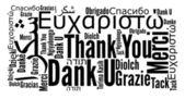 Děkuji fráze v různých jazycích — Stock fotografie
