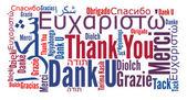 Dank u zin in verschillende talen — Stockfoto