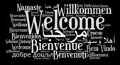 Tümcecik farklı dillerde hoş geldiniz — Stok fotoğraf
