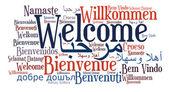 Willkommen-satz in verschiedenen sprachen — Stockfoto