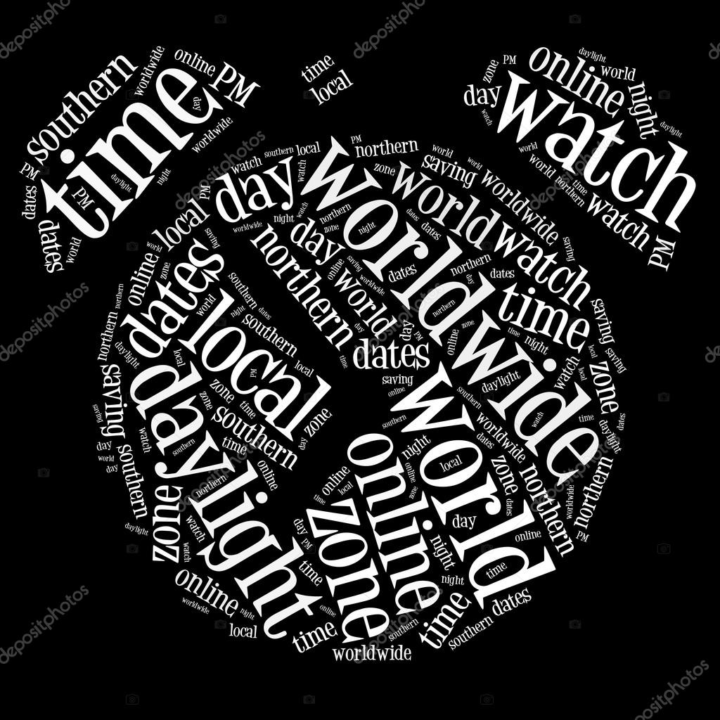 Clock info-text graphics arrangment and words cloud. Time keeping concept. — Stock Photo #15191781