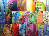 Colourful Batek Prints Textile — Stock Photo