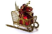 Christmas Gift on Sleigh — Stock Photo