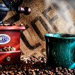 Coffee Beans and Grinder — Stock Photo
