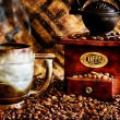 Coffee Beans and Grinder Closeup — Stockfoto