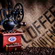 Coffee Beans and Grinder with Bag Closeup — Stock Photo