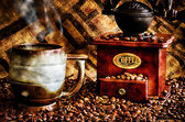 Coffee Beans and Grinder Closeup — Stock Photo