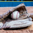 Baseball Equipment on Field — Stock Photo