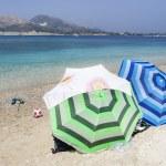 Blue sea water and beach on Marathonisi island in Zakynthos, Gre — Stock Photo
