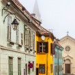 Medieval street view in Sighisoara, Transylvania, founded by sax — Stock Photo