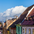 Medieval street view in Sighisoara, Transylvania, founded by Ger — Stock Photo